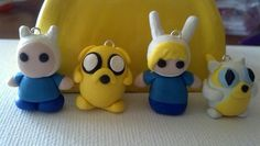 Adventure time's Finn, Fiona, Jake, and Cake polymer clay charms :)