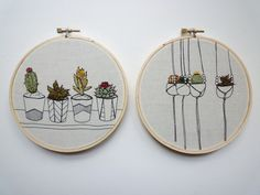 Embroidery Art 'Pots in a Row' 5 inch por CheeseBeforeBedtime