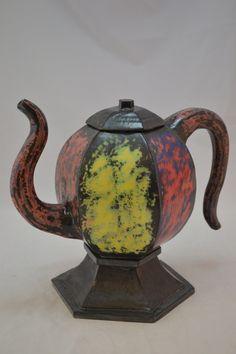 6 sided teapot, yellow, green, blue, red, orange, purple underglaze