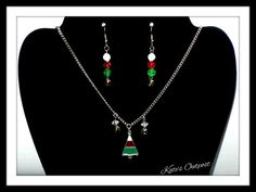Christmas Tree Necklace and Bell Earrings ~ Christmas Gift ~ Handmade by KatesOutpost on Etsy