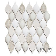 Encore Ceramics | Wave mosaic hand-glazed in Botticino 104 color blend: Botticino stone with dimensional Milk gloss, dimensional Bianca matte, dimensional Smoke crackle, and Martini jewel glazes | Sustainably made in Oregon