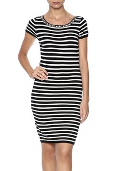 Super light weight sweater dress, striped throughout and features a beaded neckline, and short sleeves.   Striped Sweater Dress by Molly Bracken. Clothing - Dresses - Short Sleeve Clothing - Dresses - Printed Clothing - Dresses - Casual North Shore, Boston, Massachusetts