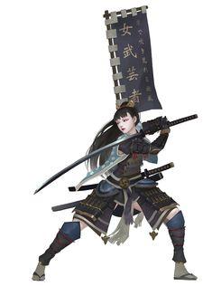 Samurai by Midfinger on DeviantArt Fantasy Character Design, Character Design Inspiration, Character Concept, Character Art, Dnd Characters, Fantasy Characters, Female Characters, Ronin Samurai, Samurai Warrior
