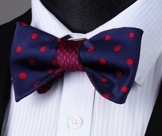 BE04R Blue Red Polka Dot Double Side Bowtie Men Cotton Party Classic Wedding Self Bow Tie