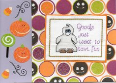 Halloween Spooky Cross Stitch Cards - Handmade - Ghosts, Witches, Wizards, Cats | eBay