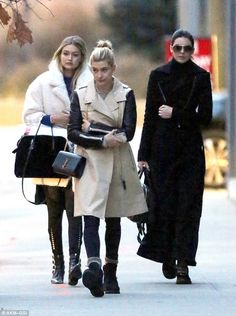 The model army: (Left to right) Gigi Hadid, Hailey Baldwin andKendall Jenner left a Tribe...