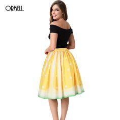 c9ba9fa0f7 Aliexpress.com : Buy ORMELL New Lemon Print Long Tutu Pleated Skater Skirt  Fashion Women Saia Midi Summer Style Lolita Female Womens Skirts from  Reliable ...