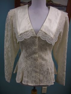 Gunne sax Jessica McClintock lace blouse top by HeirloomMaine, $22.00