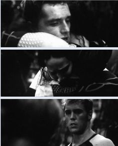 """""""After your first Games, I thought the whole romance was an act on your part. We all expected you'd continue that strategy. But it wasn't until Peeta hit the force field and nearly died that I —"""" Finnick hesitates """"That you what?""""  """"That I knew I'd misjudged you. That you do love him. I'm not saying in what way. Maybe you don't know yourself. But anyone paying attention could see how much you care about him,"""" he says gently. - Mockingjay, Chapter 11"""