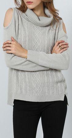 Grey Cold Shoulder Sweater ❤︎
