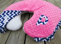 Boppy Nursing Pillow Cover, Hot Pink Minky Navy Blue Chevron, Optional Ruffle and Letter Applique, Baby Girl, Photo Prop, Gift
