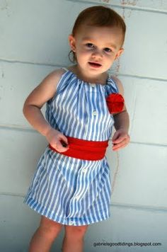 Girl's Dress Upcycled from a Man's Dress Shirt