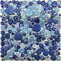 Glazed porcelain tile glass pebble mosaic PPMT043 pebble flooring tiles blue porcelain mosaic tile backsplash bathroom wall tiles [PPMT043] - $16.89 : MyBuildingShop.com