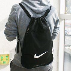 Nike Team Swoosh Black Drawstring Backpack Bag Sport Training Gym Yoga Sack NEW #Nike #DuffleGymBag