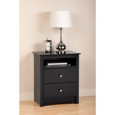 Broadway Black 2-drawer & Open Cubbie Nightstand | Overstock.com Shopping - The Best Deals on Nightstands