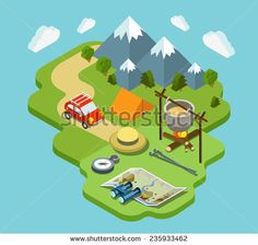 Camping travel outdoor active vacation flat 3d isometric pixel art modern design concept vector. Mountain forest meadow bowler tent fire chowder skewer. Web banners website infographics illustration.