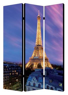 "Eiffel Tower At Dusk Chinese room divider.  48"" wide x 71"" tall x 1"" deep"