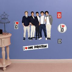 Fathead Jr. One Direction Group Pose Wall Decals ($46) ❤ liked on Polyvore featuring home, home decor, wall art, home wall decor, reusable wall decals, vinyl wall art and fathead wall stickers