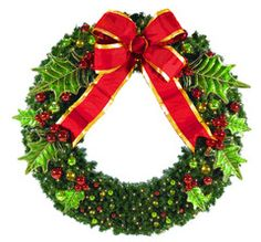 Holly Berry Christmas Wreath decorated in red and green decor with metal holly leaves, ornament berries and a red structural bow with gold trim, lit with warm white LED mini lights.