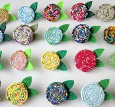 Your Choice Rosette Vintage Fabric Flower Brooch Pin Felt Leaves MADE TO ORDER, via Etsy.