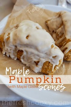 This whole grain recipe for Maple Pumpkin Scones is the perfect fall treat! Fresh, light, moist Pumpkin scones are sweetened only with maple syrup, with a beautiful balance of fall spices and then topped with a lovely browned butter maple glaze. Brunch Recipes, Fall Recipes, Sweet Recipes, Holiday Recipes, Dessert Recipes, Fresh Pumpkin Recipes, Party Recipes, Holiday Desserts, Thanksgiving Recipes
