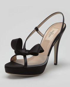 PVC & Satin Slingback Bow Sandal, Black - Valentino via Neiman Marcus.