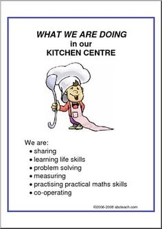 What We Are Doing: Kitchen Centre Preschool Center Signs, Preschool Centers, Kindergarten Classroom, Preschool Activities, Play Based Learning, Learning Centers, Mobile Learning, Learning Stories Examples, Emergent Curriculum