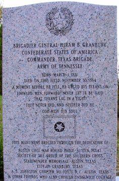 ABT UNK: Tombstone Tuesday: Confederate General Hiram B. Granbury