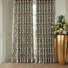 Rococo Curved Lines Energy Saving Curtain  #curtains #decor #homedecor #homeinterior #brown