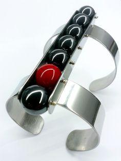 Pinball cuff steel, silver, hematite, coral by zero43