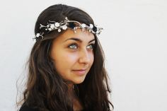Silver Leaf Tiara - Winter Wedding Bridal Tiara, Silver Flower Crown, Winter Hair Wreath, Holiday Hair Accessory, Christmas Wedding, Halo. $42.00, via Etsy.