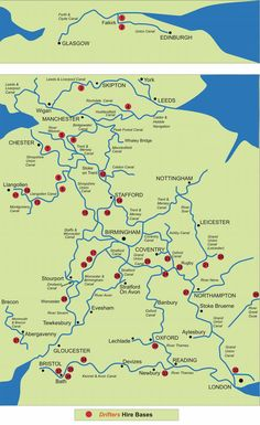 Canal map of the waterways of UK