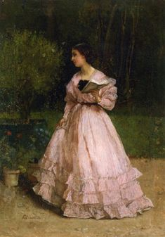 In the Garden. Alfred Stevens (Belgian, Romanticism, 1828-1906). Oil on panel.