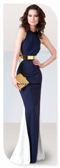 Fab dress + great gold belt. navy and white gown. women's fashion and style.