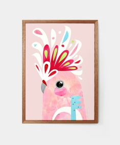 """This is a fine art print from the original """"Major Mitchell Cockatoo"""" Artwork by Pete Cromer. Dale Chihuly, Nursery Drawings, Nursery Artwork, Contemporary Australian Artists, 7 Arts, Art Nouveau, Australian Birds, Australian Art For Kids, Guache"""