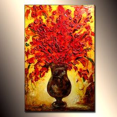 Abstract Art Original Flower Painting Thick by newwaveartgallery, $700.00