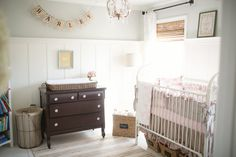 This vintage-inspired farmhouse nursery is just darling, I love the muted colors! /BR | Project Nursery