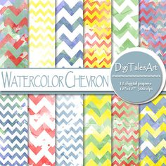 """Geometric watercolor digital paper pack """"Watercolor Chevron"""" in red, blue, yellow, green and white.   Perfect for scrapbooking, making cards, invitations, collages, crafts, web graphics, and so much more."""