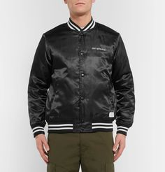 <a href='http://www.mrporter.com/mens/Designers/Neighborhood'>Neighborhood</a>'s founder Mr Shinsuke Takizawa cites motorcycles, Japan's Harajuku district and Mr Steve McQueen among his diverse sources of inspiration. This bomber jacket is cut from lustrous satin and embroidered with 'Craft with pride'. Designed for light insulation, it has a diamond-quilted lining and striped jersey trims that define its sporty shape and trap warmth. Outfit it with top-to-toe monochrome.