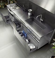 Kitchen Niches: 60 Creative Ideas in Decorating - Home Fashion Trend Stainless Steel Kitchen Design, Steel Kitchen Cabinets, Kitchen Cupboard Doors, Kitchen Stools, Dirty Kitchen, Hidden Kitchen, Mini Kitchen, Restaurant Kitchen Design, Small American Kitchens