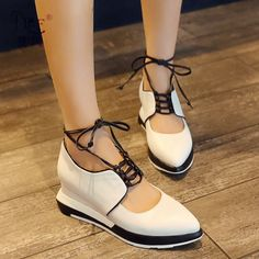 (59.95$)  Know more - http://aixnh.worlditems.win/all/product.php?id=32799264254 - 2017 New Crossed Lace-up Black White Mixed Color Pointy Toe Korean Style Slope Heels Women's Wedges Shoes Fashion Hot Selling