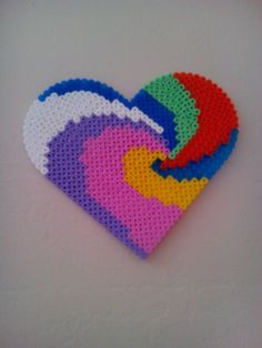 Colorful heart hama beads by fabamel
