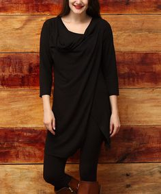Another great find on #zulily! Black Cowl Open Hem Tunic - Plus #zulilyfinds