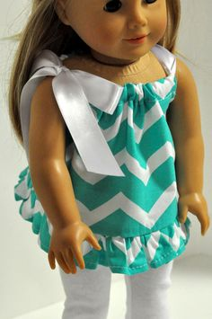 American Girl Doll Clothes Turquoise and White by CircleCSewing