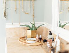Neutral & Metallic Master Bathroom Makeover - Inspired By This