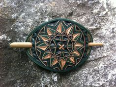 Green small size leather hair barrette