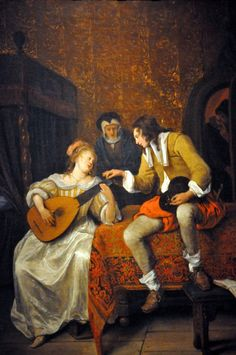 Jan Steen - Ascagnes and Lucelle, The Music Lesson, 1667 at Corcoran Art Gallery Washington DC