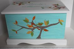 Keepsake chest memory box personalized Little Tree by staciedale (Home & Living, Furniture, Kids' Furniture, Benches & Toy Boxes, baby gift, baby keepsake box, baby keepsake chest, keepsake box, keepsake chest, new baby gift, personalized gift, children, room decor, chest, blue baby gift, little tree bids)