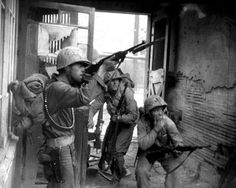 US Marines (with M1 Carbines) fighting in Korea 20 September 1950.