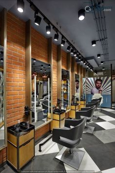 The speedily growing salon chain A one lets each of its branches sport a uniquely designed concept and when Usine Studio was asked to brew up something interesting for their 1000 sq ft Vasna Road branch in Vadodara, the duo knew just what to do. Interior Design Color Schemes, Showroom Interior Design, Interior Design Pictures, Interior Design Software, Barber Shop Interior, Barber Shop Decor, Beauty Salon Interior, Parlour Design, Salon Design